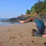 2 stefanie doing morning yoga - awesome lucust