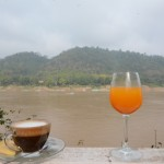 breakfast at the bank of the Mekong in Luang Prabang