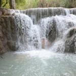 shower at Tat Kuang Si waterfall