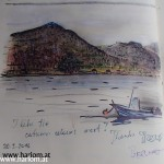 Drawing of a fjord by Irene